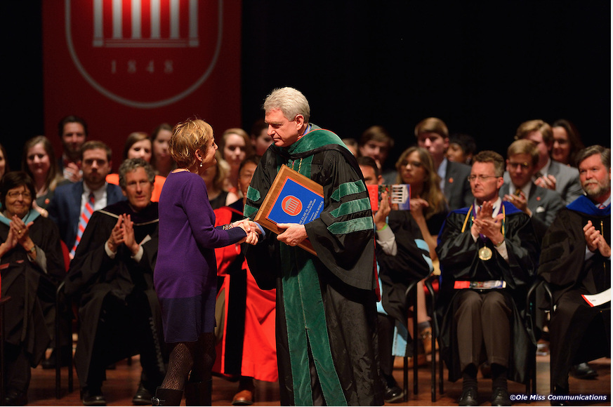 Professor Fisher-Wirth receives the 2014 Elsie M. Hood Outstanding Teacher Award from Chancellor Jones.